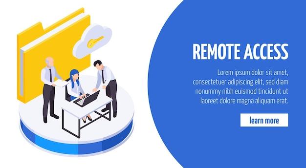 I dipendenti del lavoro remoto comunicano il banner isometrico per l'accesso alla condivisione dei dati sicura con la chiave della cartella cloud