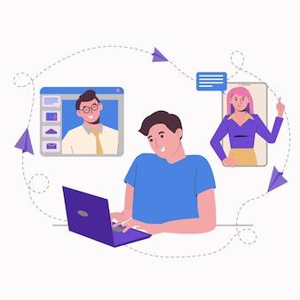 Lavoro a distanza da casa online. uomo libero professionista con un computer portatile. comunicazione con i colleghi