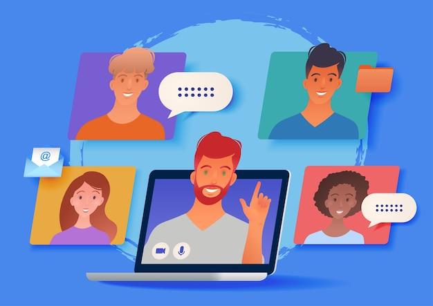 Lavoro a distanza, illustrazione di lavoro da casa con riunione di gruppo aziendale virtuale tramite computer portatile Vettore Premium