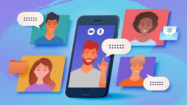 Lavoro a distanza, illustrazione di lavoro da casa con riunione di gruppo aziendale virtuale tramite smartphone