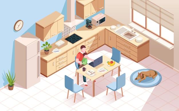 Lavoratore remoto in cucina che fa lavoro e utilizzando notebook uomo una tazza di caffè e bambino in camera