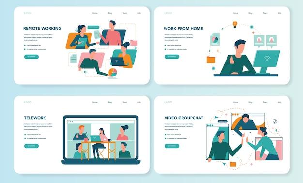 Banner web per lavoro remoto o set di pagine di destinazione. telelavoro e outsourcing globale, i dipendenti lavorano da casa. distanza sociale durante la quarantena del coronavirus.