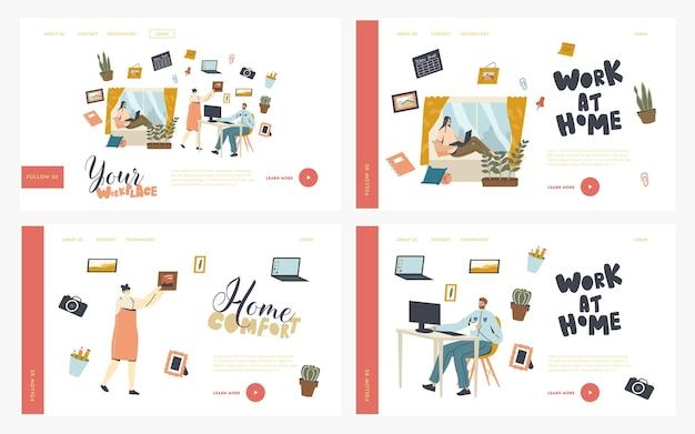 Set di modelli di pagina di destinazione sul posto di lavoro remoto