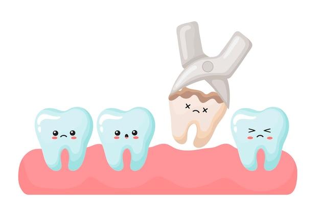 Rimozione del dente frantumato. simpatici denti kawaii. illustrazione vettoriale in stile cartone animato.