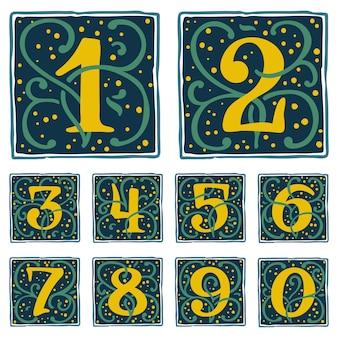 Numeri rinascimentali con punti dorati e motivo a foglie verdi carattere tipografico vettoriale classico