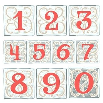 Numeri rinascimentali impostati con motivi di linea carattere tipografico vettoriale vintage