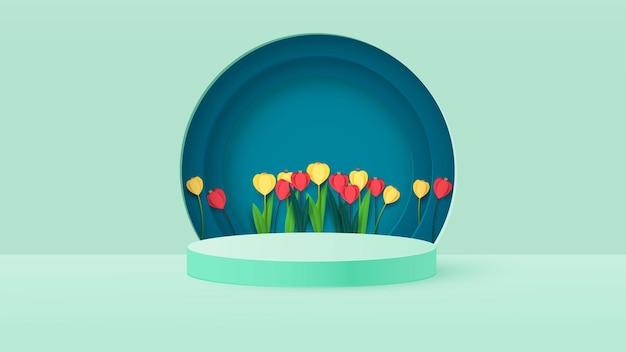 Rendering di una scatola del podio con fiori primaverili. tulipani luminosi, podio o sfondi piedistallo.