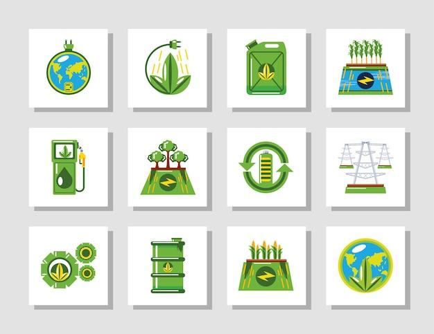 Illustrazione delle icone ambientali di ecologia verde di energia rinnovabile