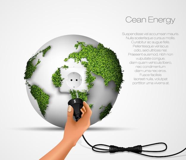 Infografica sull'energia rinnovabile con elementi dell'acqua del sole, del vento e della terra