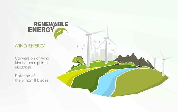 Infografica sull'energia rinnovabile con elementi dell'acqua del sole, del vento e della terra.