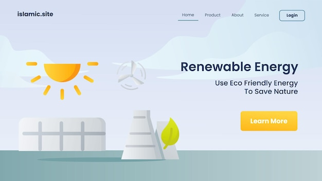 L'energia rinnovabile usa l'energia pulita per salvare la natura per l'illustrazione di progettazione di vettore del fondo isolata piana della homepage di atterraggio del modello del sito web