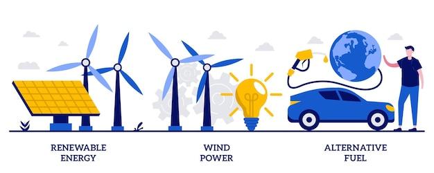 Energia rinnovabile, energia eolica, concetto di carburante alternativo con persone minuscole. insieme di energia pulita. pannelli solari, elettricità verde, stazione di ricarica, lampadina, metafora del parco eolico.