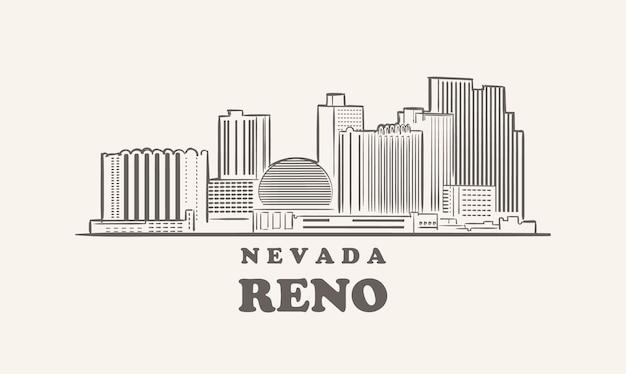 Reno skyline, nevada schizzo grande città