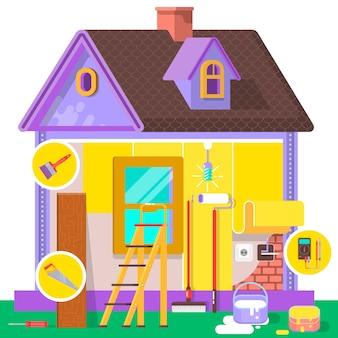 Appartamento di ristrutturazione. interni domestici e riparazioni a casa. illustrazione vettoriale in uno stile piatto.