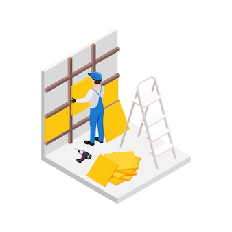 Composizione isometrica di lavori di riparazione di ristrutturazione con operaio maschio che tiene pannelli di parete con trapano