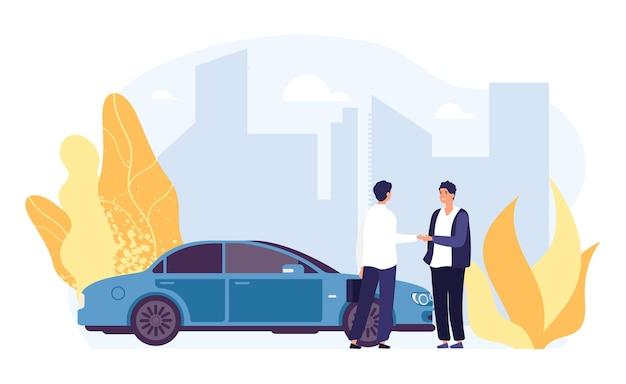Auto noleggio. carsharing, illustrazione di agenzia di noleggio auto. personaggi maschili piatti, auto vettoriale, paesaggio della città. trasporto noleggio auto, servizio di trasporto concessionaria