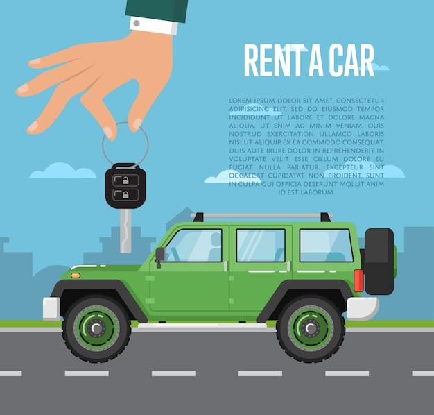 Noleggia un concetto di auto con la mano che tiene la chiave automatica