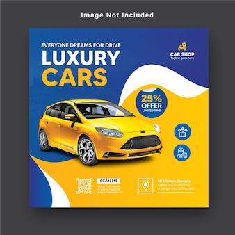 Noleggia un'auto per il modello di banner sui social media