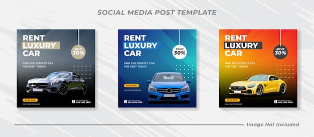Noleggia un'auto per i social media instagram post banner template set