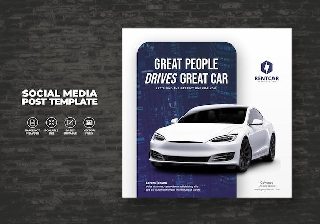 Noleggio auto per social media post banner modello di lusso