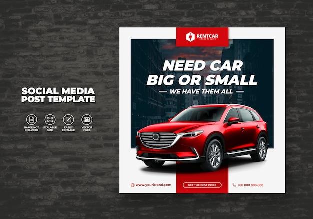 Noleggio auto per social media modello post banner luxury