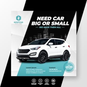 Noleggio auto per social media post banner modello promo