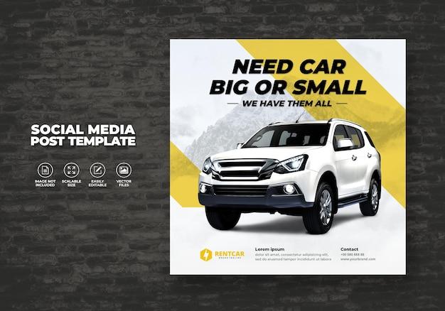 Noleggio auto per social media post banner modello vettoriale
