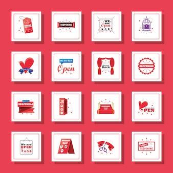 Riapertura dettagliata del design della raccolta di icone di stile dello shopping e del virus covid 19