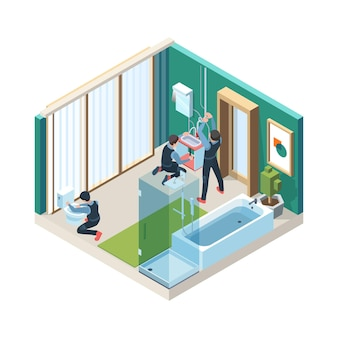 Ripara il bagno. gli operai dell'idraulico installano le condutture nelle illustrazioni di concetto della stanza di lavaggio isometriche.