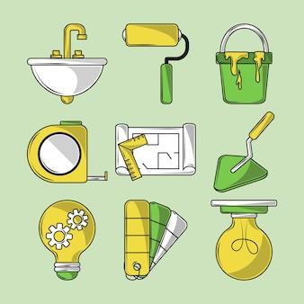 Icone di riparazione e costruzione