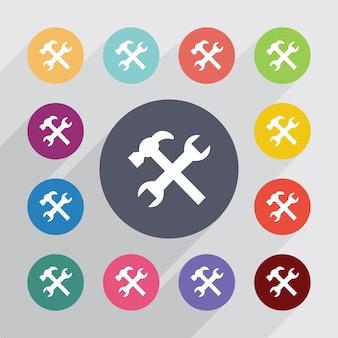 Riparazione, set di icone piatte. bottoni colorati rotondi. vettore