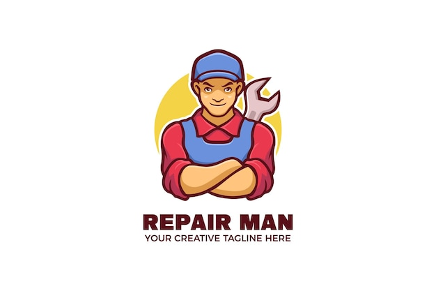 Modello di logo del personaggio della mascotte meccanica dell'uomo di riparazione