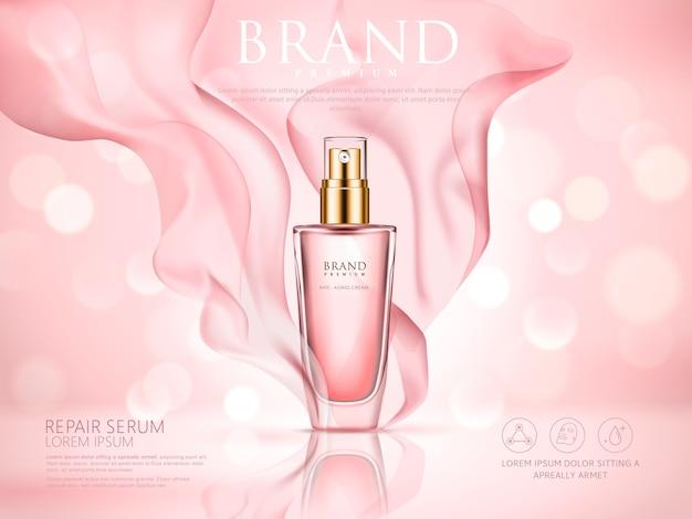 Ripara il siero e lo sfondo rosa bokeh con morbido chiffon rosa