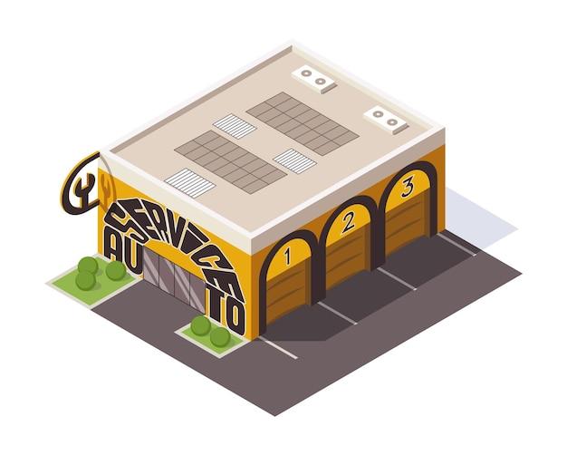 Modello di servizio di riparazione con porte da garage