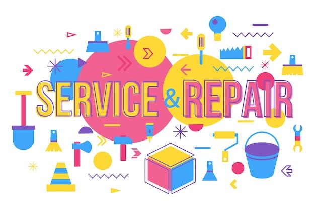 Progettazione dell'insegna di concetto di parola del negozio di riparazione. illustrazione vettoriale di servizio di manutenzione con tipografia