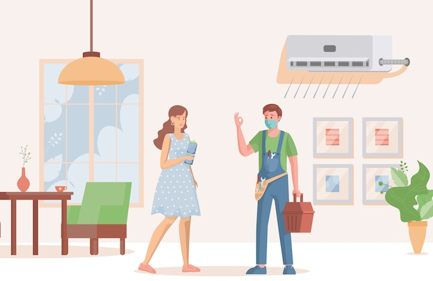Specialista di riparazione installa o ripara il condizionatore d'aria per donna