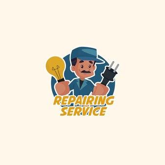 Modello di logo della mascotte di vettore del servizio di riparazione