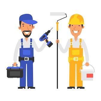 Il riparatore tiene la valigia con gli strumenti e il cacciavite il costruttore tiene la vernice del secchio e tiene il rullo