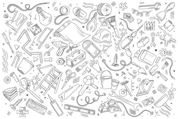 Insieme di doodle di riparazioni