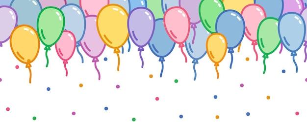 Decorazione ripetuta con palloncini colorati e coriandoli motivo decorativo per feste vettore carta da parati