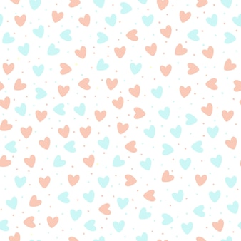 Cuori disegnati a mano ripetuti su priorità bassa bianca. modello senza cuciture carino. stampa romantica senza fine. illustrazione vettoriale. eps10