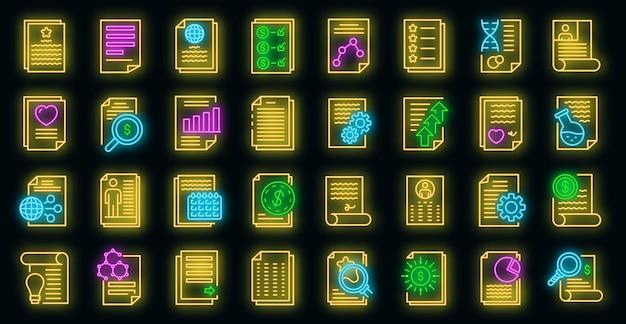 Set di icone del giornalista. contorno set di icone vettoriali reporter colore neon su nero