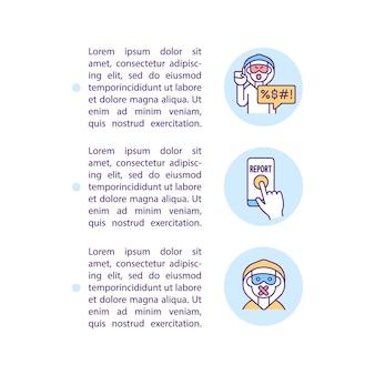 Segnalazione delle icone della linea del concetto di cyberbullismo con testo