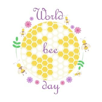 Rappresentazione del pianeta sotto forma di nido d'ape con api e piante.