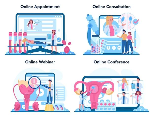 Servizio online di riproduttologo o set di piattaforme.