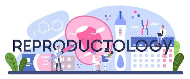 Intestazione tipografica di riproduttologia. fertilità umana, ricerca sui materiali biologici