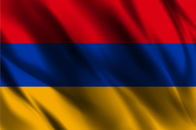 Bandiera della repubblica di armenia galleggiante di seta sfondo