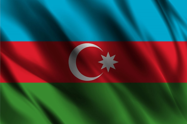 Bandiera della repubblica dell'azerbaigian galleggiante di seta sfondo