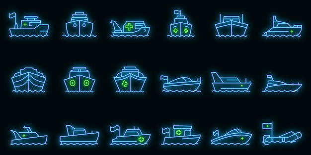 Icone della barca di salvataggio messe. delineare l'insieme delle icone vettoriali della barca di salvataggio colore neon su nero