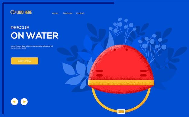 Volantino del concetto di casco di salvataggio, banner web, intestazione dell'interfaccia utente, accesso al sito. .